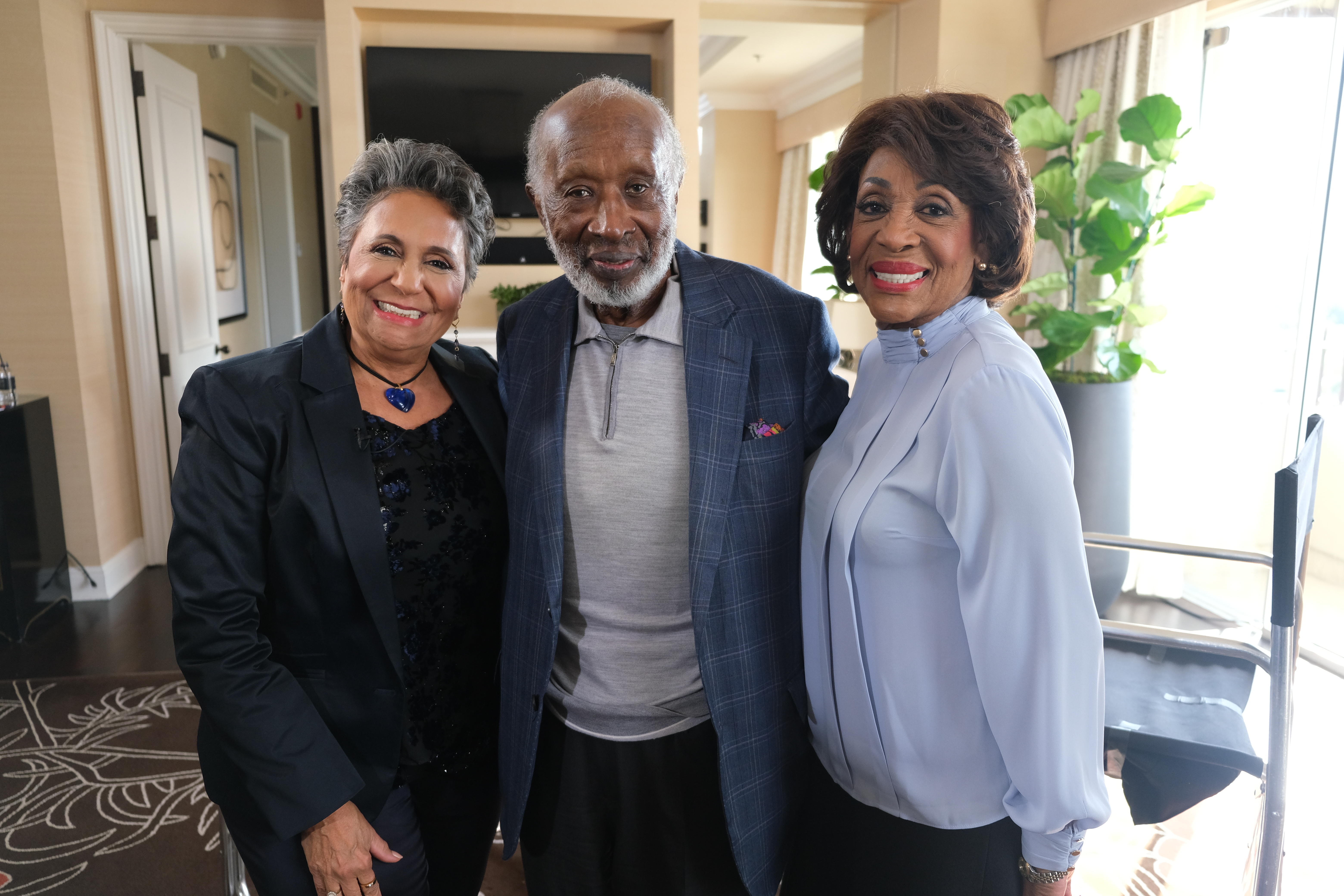 Cathy Hughes, Clarence Avant and Maxine Waters